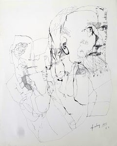 The grand father - Lajos Szalay, 20th Century, Figurative drawing