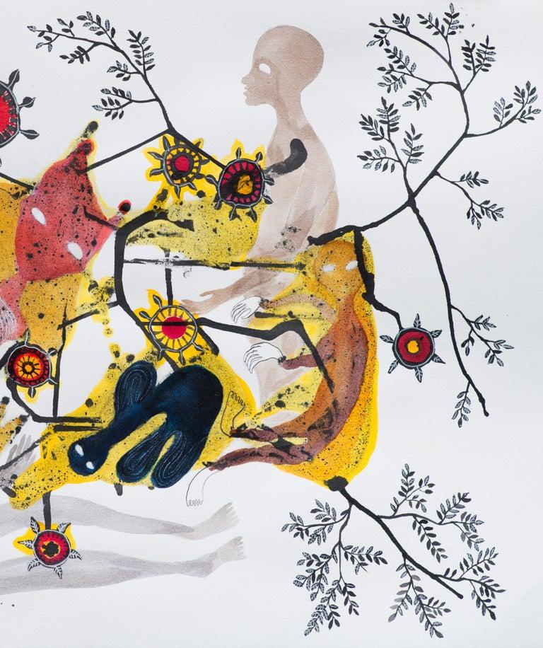 Synapses - Haude Bernabé, 21st Century, Contemporary Figurative Drawing - Beige Figurative Art by Haude Bernabé