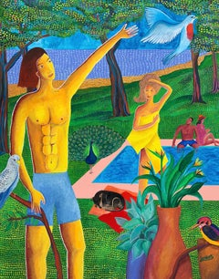 The birds' garden - Julien Calot, 21st Century, Contemporary figurative painting