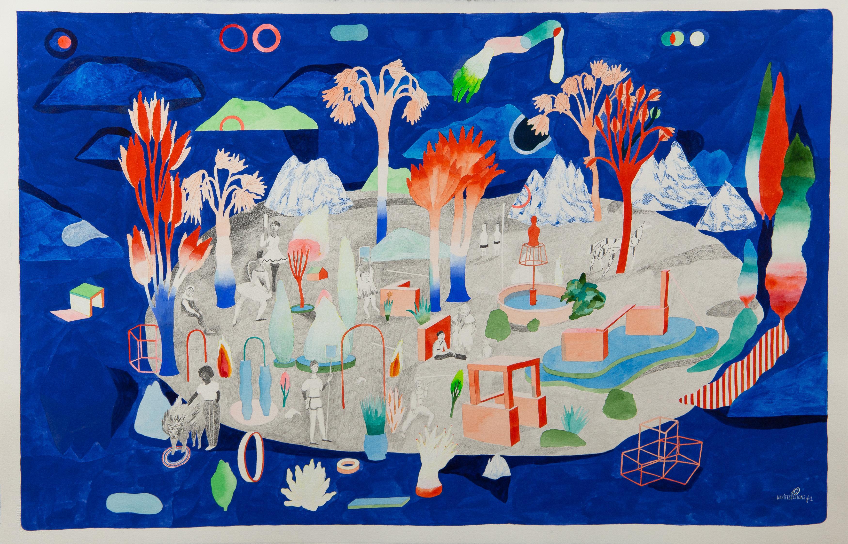 Demonstration #1 Hélène Duclos, 21st Century, Contemporary figurative art blue