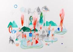 Rituals #1 Hélène Duclos, 21st Century Contemporary figurative art, orange green