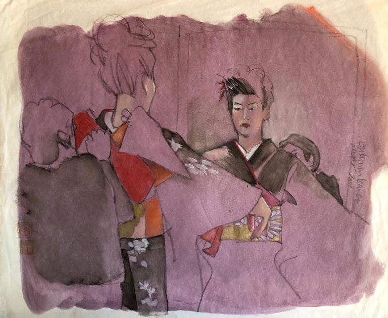 Lynn Matsuoka, COURTESAN DRESSING   - Mixed Media Art by Lynn Matsuoka