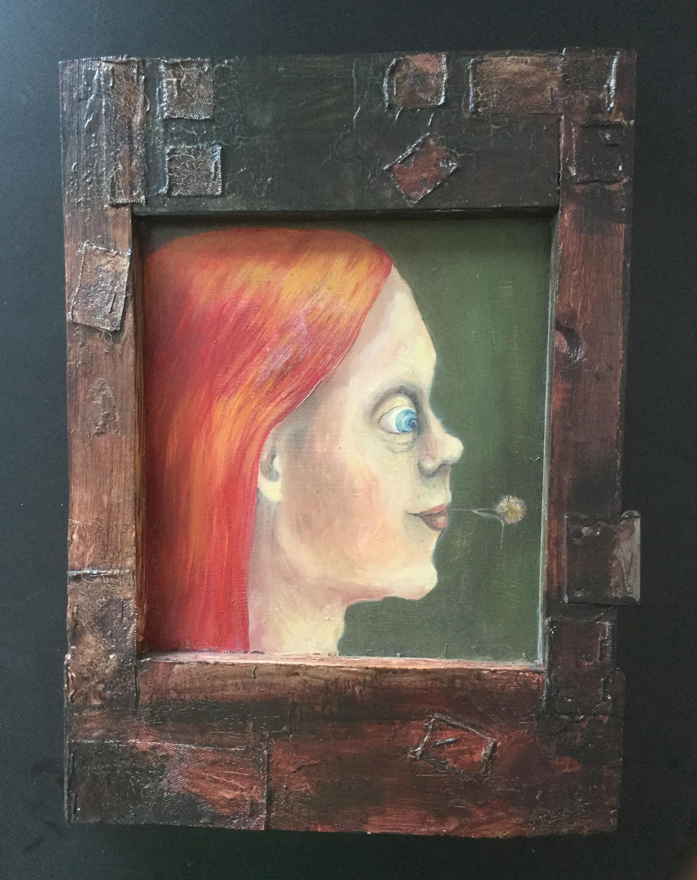 Red-Haired, Contemporary Figurative Oil Painting, Female Portrait Painting