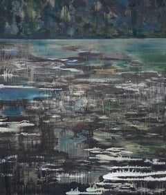 Bystry Canal - River Bend, Large Format Contemporary Nature Painting, Landscape