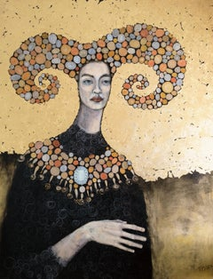 Aries - Zodiac Series, Decorative Golden Woman Portrait, Contemporary Painting