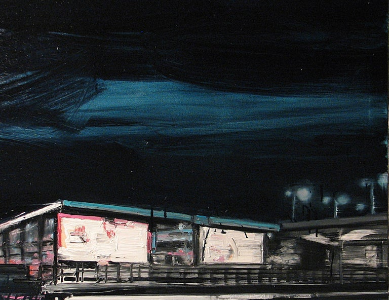 Mooring Light Lines on Railway Stations - Painting by Robert Bubel
