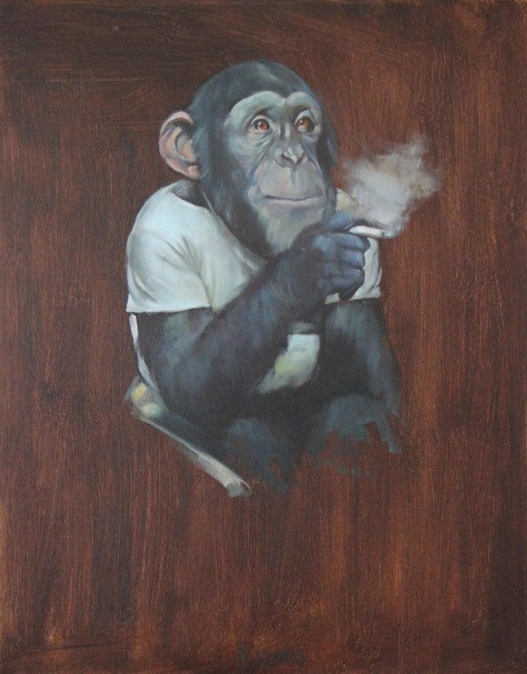 Tomasz Bielak Animal Painting - Monkey with a Cigarette II