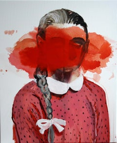 Red Stain - Contemporary Expressionism Painting, Female, Girl Portrait, Realism