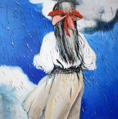 Rain - Contemporary Figurative Painting, Girl Portrait, Expression, Romantic