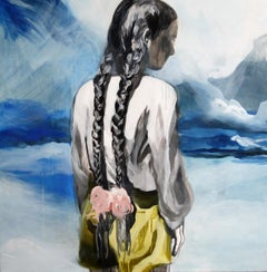 Girl´s Back - Contemporary Figurative Painting, Female Portrait, Expression