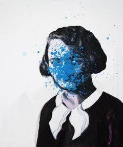 Blue Dots - Contemporary Figurative Painting, Female Portrait, Expression