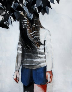 Shadow - Contemporary Figurative Painting, Standing Girl, Female Portrait