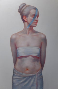 Isolation - Large Format Painting, Photorealistic Modern Female Portrait
