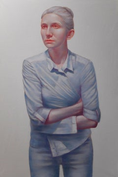 Tightness - Large Format Painting,  Photorealistic Oil Painting, Female Portrait
