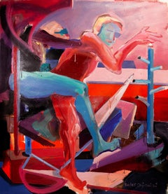 Summer Is To Hot - Expressionism Painting, Contemporary Figurative Oil Painting