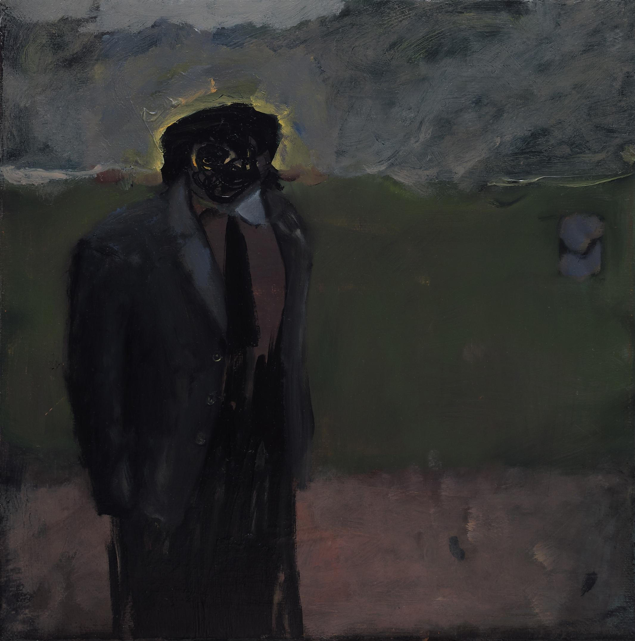 Almost Full-sized Football Pitch - Contemporary Oil Painting, Existentialism