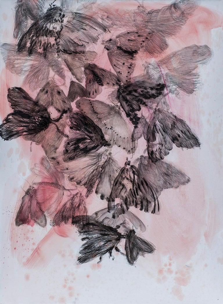 Katarzyna Swinarska Animal Painting - Skin I - Wonderful Night Butterflies Painting - Contemporary Painting