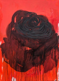 Love I  - Wonderful Abstract Flower Painting, Contemporary Oil Painting