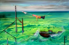 The Border -  Modern, Expressionism, Landscape Painting, Green, Joyful, Colorful