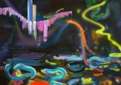 Night Swimming Requires a Quiet Night - Expressionism, Underwater Sea Landscape