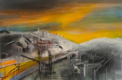 Gold Digging  -  Expressionism, Modern Landscape,  Architectural Painting