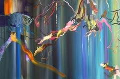 Where Did I Put It? -  Lemur, Jungle, Modern Landscape Painting, Colourful, Blue