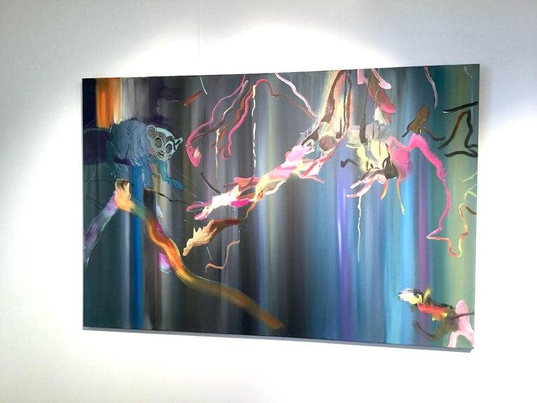 Where Did I Put It? -  Lemur, Jungle, Modern Landscape Painting, Colourful, Blue For Sale 1