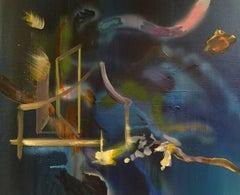 Night Water, Golden Door - Expressionism, Underwater Seascape, Abstract, Magical