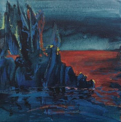 Blue Night - Contemporary Landscape Painting, Seascape Painting, Colourful