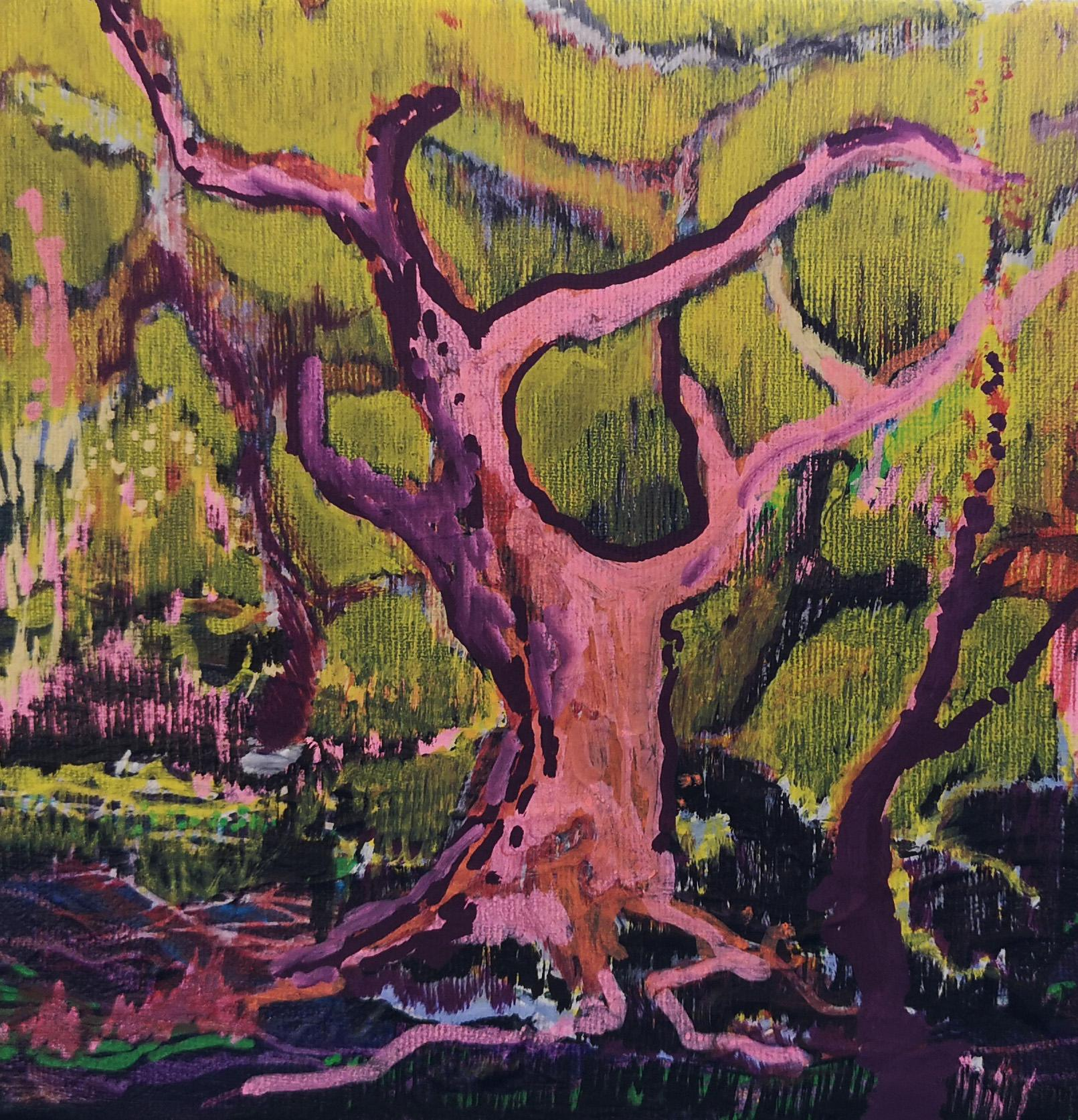 Tree Of Life - Contemporary Landscape Painting, Mountains, Warm Tones, Nature