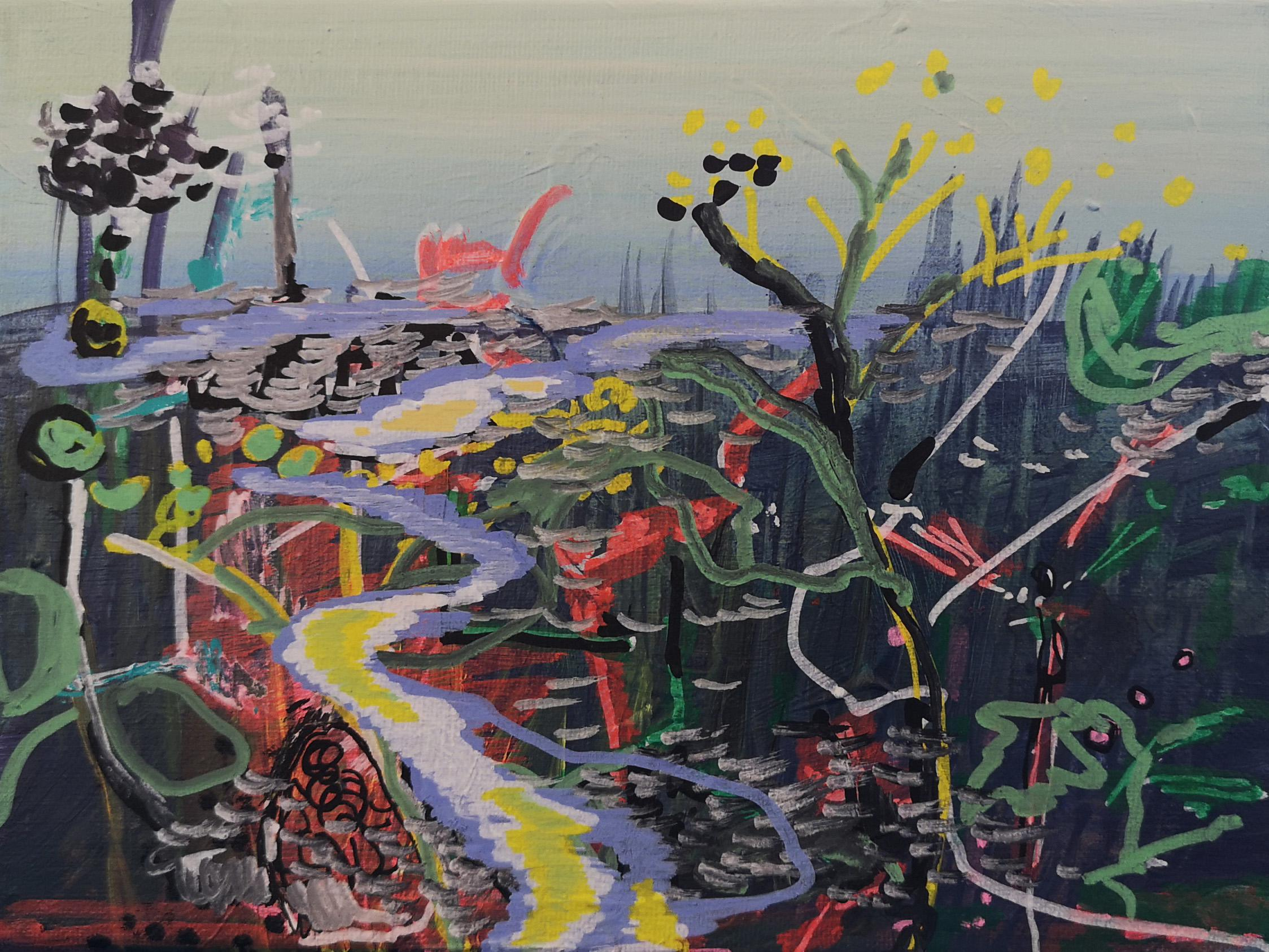 Complicated Way - Contemporary Landscape Painting, Seascape Painting, Colourful