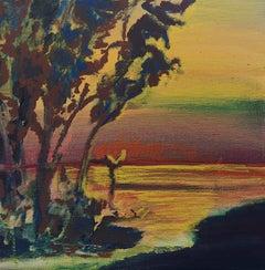 Modlimowo - Contemporary Landscape Painting, Trees, Warm Tones, Nature, River