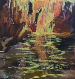 Waterfall - Expressive Landscape Painting, Warm Colours, Nature, Lake View