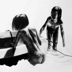 Children 6 - Contemporary Figurative Drawing, Black And White, Realism, Beach