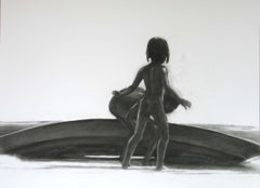 Children 11 - Contemporary Figurative Drawing, Black And White, Realism, Boat
