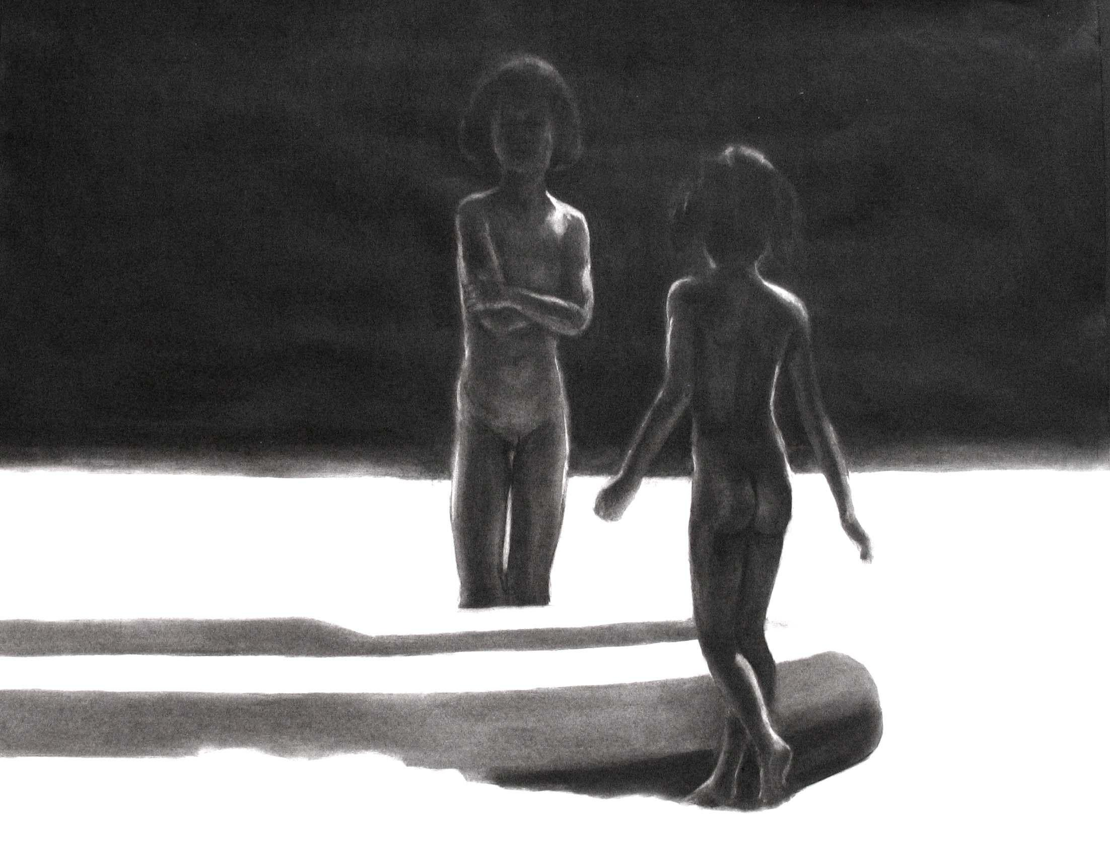 Children 13 - Contemporary Figurative Drawing, Black And White, Realism, Boat