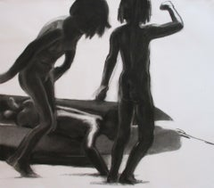 Children 19 - Expressionism, Figurative Drawing, Black And White, Boat, Play