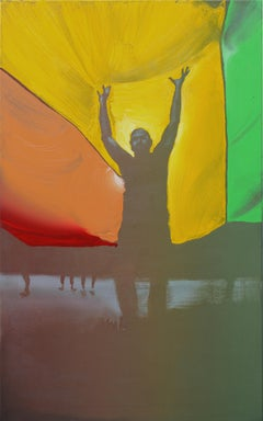 Michal - Contemporary Oil Painting, Realism, Street Art, Pride Parade, Rainbow