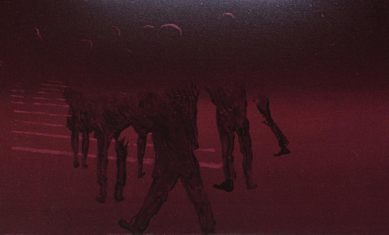 Billboard 3 - Modern Oil Painting, Realism, Minimalism, Night Light, Street Art - Black Abstract Painting by Wiktor Jackowski