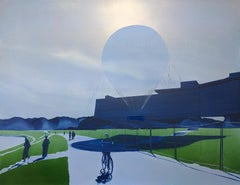 Balloon 2 - Contemporary, Minimalistic Oil Painting, Cityscape, Park Landscape