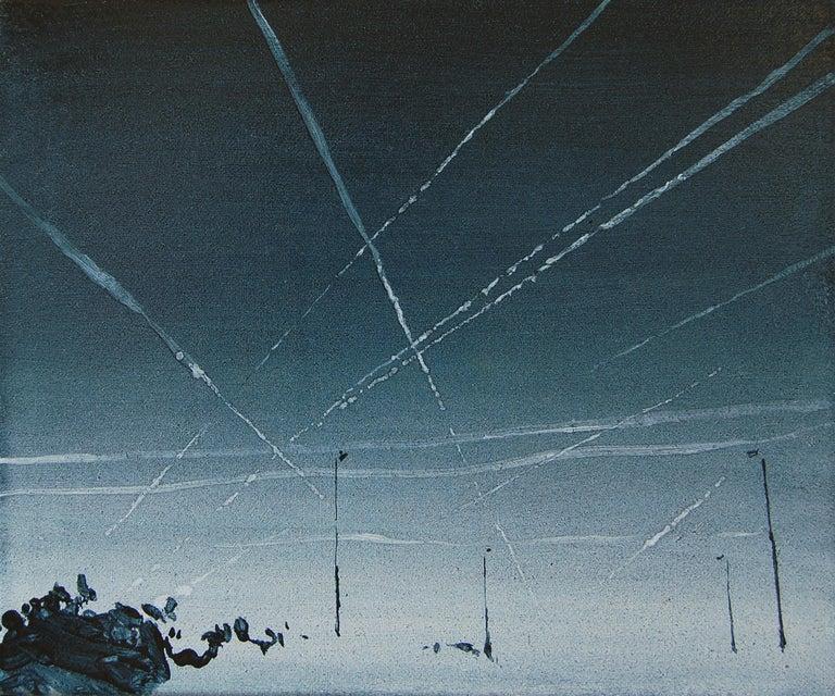 Wiktor Jackowski Landscape Painting - Condensation Trails - Modern Landscape Oil Painting, Realism, Cityscape, Blue