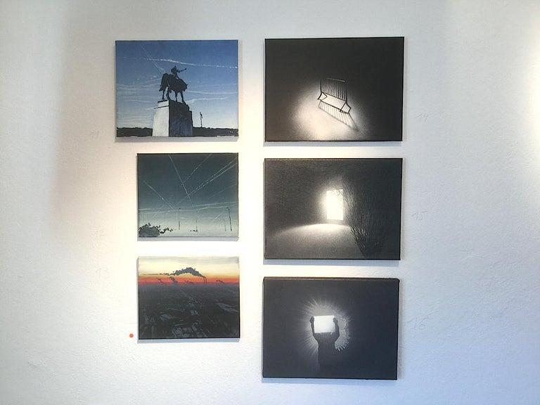 Condensation Trails - Modern Landscape Oil Painting, Realism, Cityscape, Blue For Sale 1