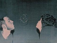 The Bubble - Modern Portrait Oil Painting, Realism, Street Art, Pop Art, Love