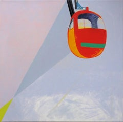 Nacelle - Modern Landscape and Mountains Painting, Abstract, Joyful, Pastel