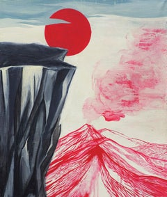 Untitled (Red Sun) - Modern Figurative Painting, Modernistic Landscape Painting