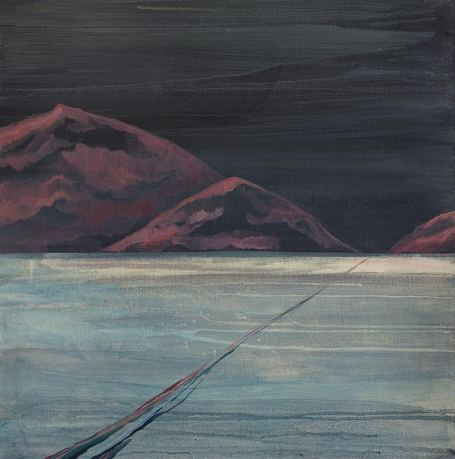 Untitled  (Burgundy Red Mountains ) - Contemporary Landscape Painting, Sea View