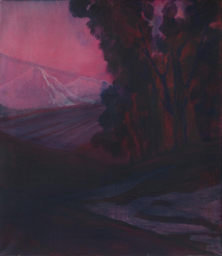 Monika Stolarska Landscape Painting - Untitled ( Atmospheric Landscape ) - Contemporary Painting, White Mountain View