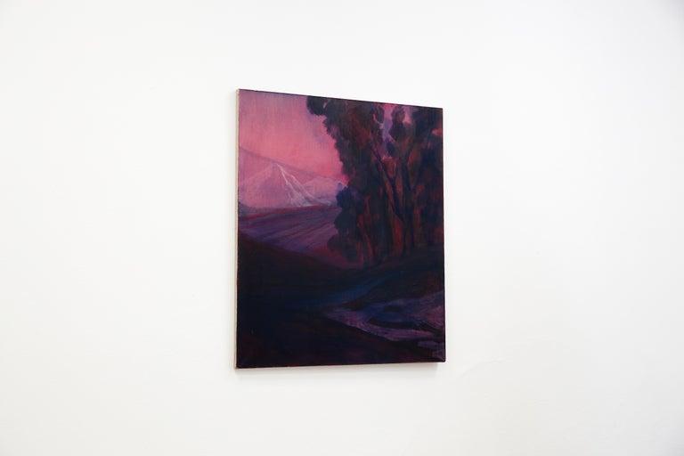 Untitled ( Atmospheric Landscape ) - Contemporary Painting, White Mountain View  - Black Landscape Painting by Monika Stolarska