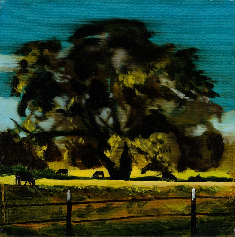 Piotr Szczur Landscape Painting - A PASTURE - from the series: MADE IN USA, Expressive Landscape Oil Painting