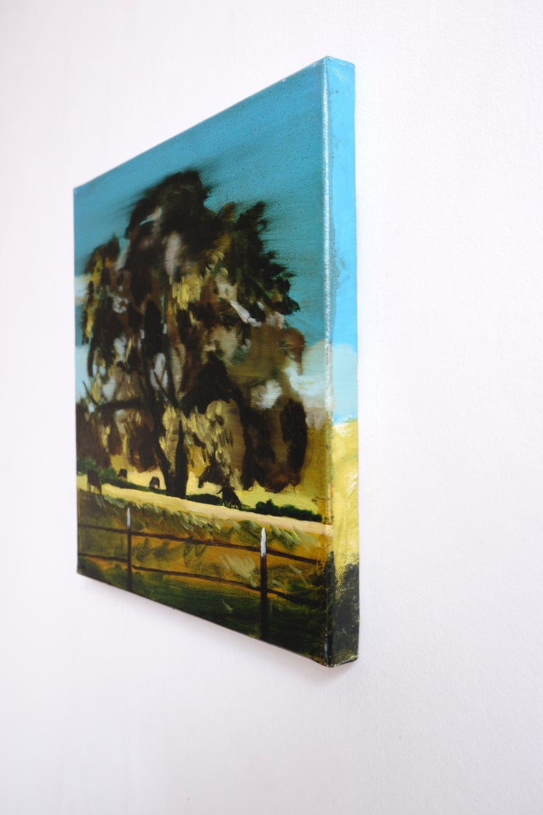 A PASTURE - from the series: MADE IN USA, Expressive Landscape Oil Painting   - Black Landscape Painting by Piotr Szczur